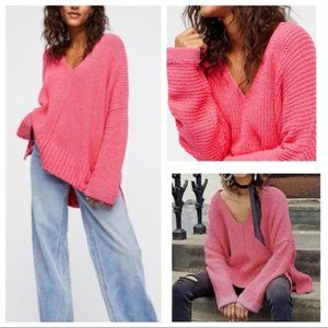 Free People Pink Take Me Over V-Neck Sweater